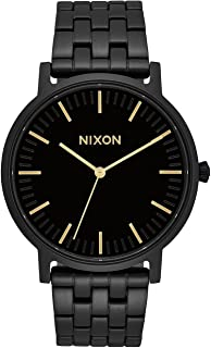 Porter A1057 - All Black/Gold - 50m Water Resistant Men's Analog Classic Watch (40mm Watch Face, 20-18mm Stainless Steel Band)