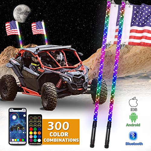 OHMU 2Pcs 4FT LED Whip Lights, Bluetooth and Remote Control 360° Spiral Lighted Whips w/Flag RGB Dancing/Chasing Light [300 Colors] LED Antenna Whips