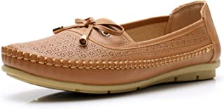 Apakowa Womens Loafers Rubber Sole Slip On Walking Flats Casual Moccasin Boat Shoes