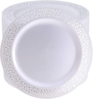 102 Pack 9 Inch White Plastic Lunch Plates, Premium Quality Round Disposable Plates for Dinner, Washable and Reusable Party Wedding Plates