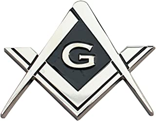 Masonic Freemasonry Chrome Square and Compasses Auto Emblem Car Decal 2 3/4