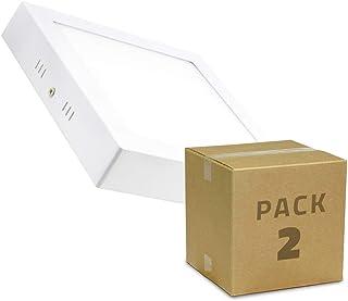 LEDKIA LIGHTING Pack Plafones LED Cuadrado 18W (2 un) Blanco Neutro 4000K - 4500K