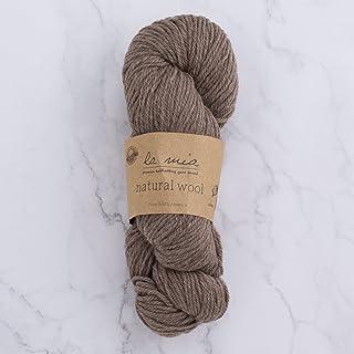 1 Skein La Mia%100 Natural Wool 3.5 Oz(100g) / 218 Yrds (200m), Medium Worsted, Afghan, Yarn, 1 Pack brown Lamia-NaturalWool