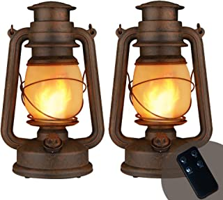 Dancing Flame Led Vintage Lantern, Realistic Dancing Flame Outdoor Hanging Lantern Battery Operated with Remote Control Tw...