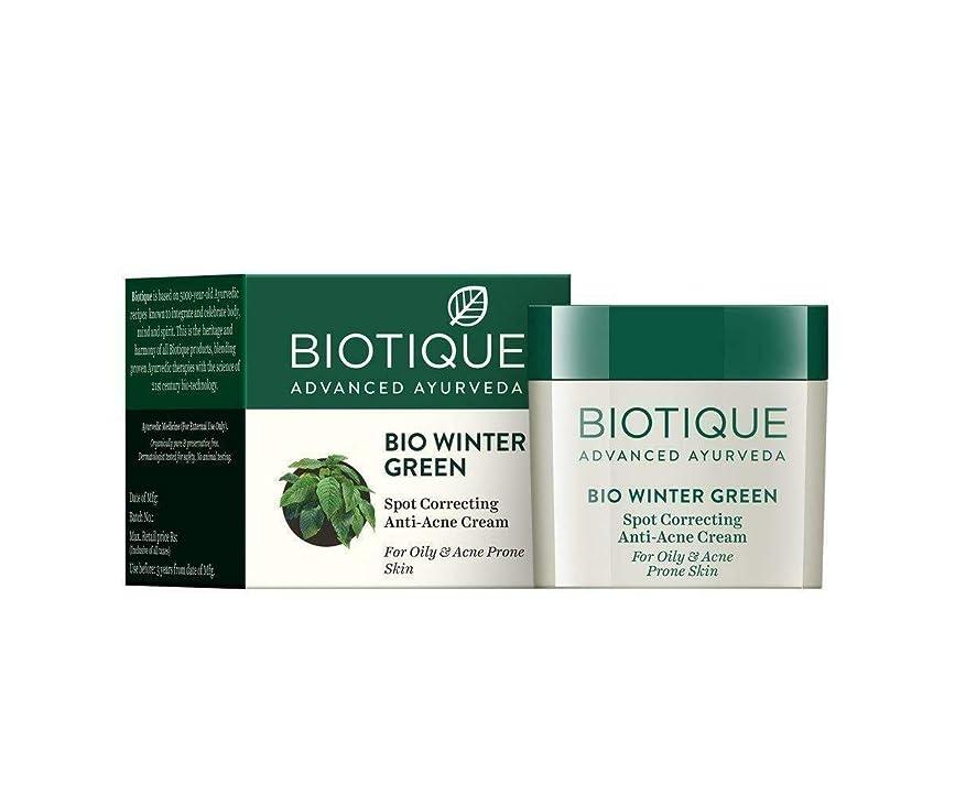 クリープ受益者ビバBiotique Bio Winter Green Spot Correcting Anti Acne Cream 15g For Oily Skin 油性肌のための抗にきびクリームを修正するBiotiqueバイオ冬の緑の斑点