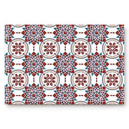 Alfombrillas de diseño único Arreglo marroquí de azulejos de mosaico de cerámica...