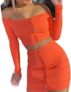 FSSE Womens 2 Piece Outfits Long Sleeve Button Crop Top and Mini Bodycon Skirt