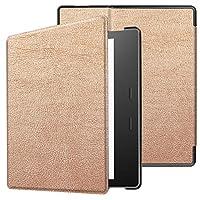 Amazon Kindleオアシス(2019)用三つ折り牛革テクスチャ水平フリップレザーケース、ホルダーおよびスリープ/ウェイクアップ機能付き(ローズレッド) WZY (Color : Rose Gold)