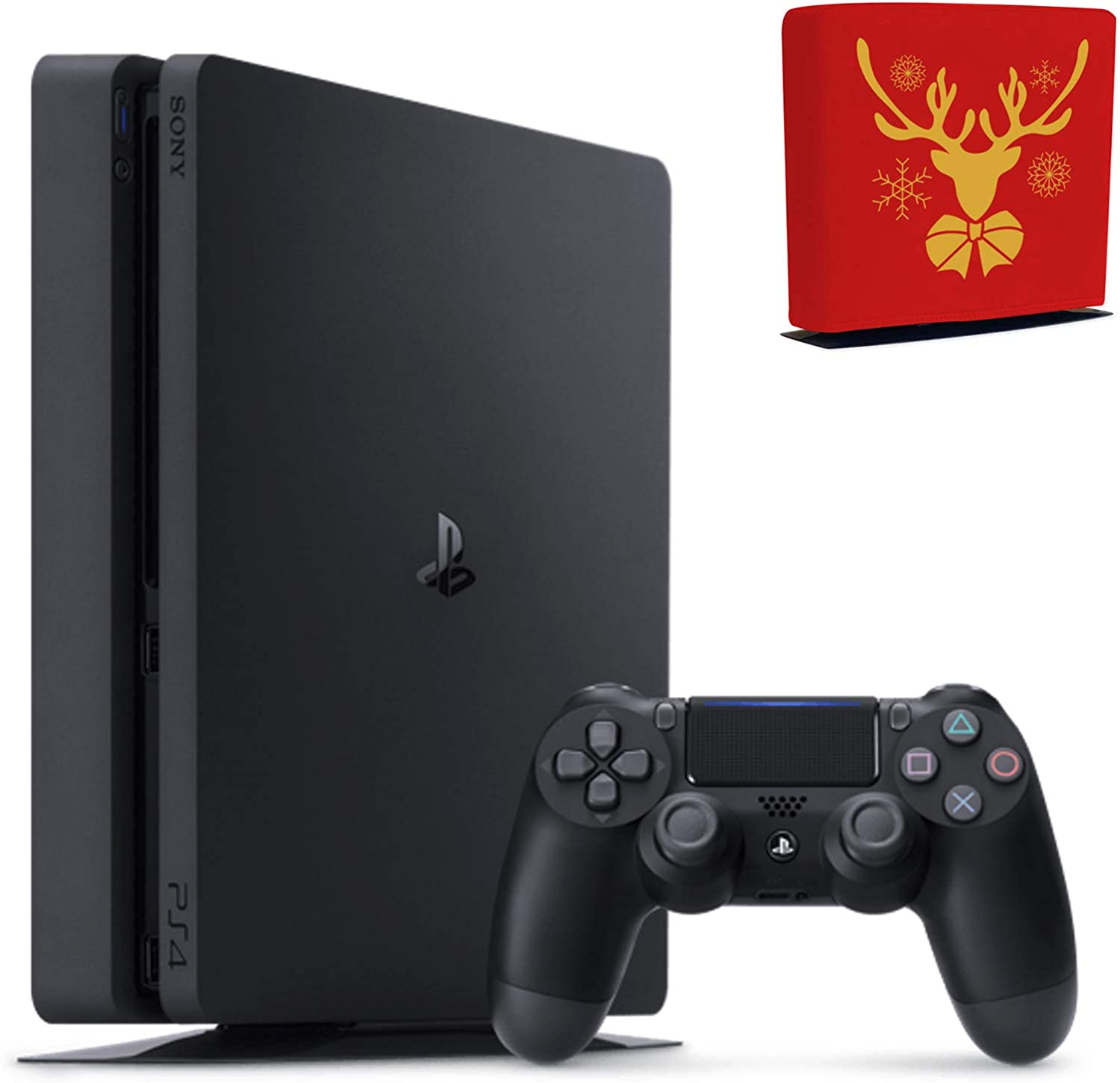 Sony Console Playstation 4-2TB Slim Edition Jet Black - PS4 with 1 DualShock Wireless Controller - Family Holiday Gaming Bundle - iPuzzle Red Reindeer Dust Cover for PS4
