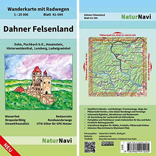 Dahner Felsenland: Wanderkarte mit Radwegen, Blatt 41-544, 1 : 25 000, Dahn, Fischbach b.D., Hauenstein, Hinterweidenthal, Lemberg, Ludwigswinkel (NaturNavi Wanderkarte mit Radwegen 1:25 000)