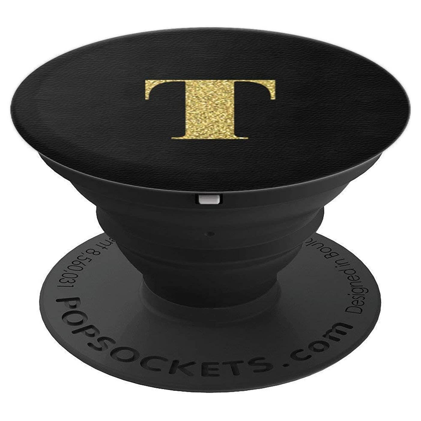 Initial T Alphabet Letter T Gold on Black Leather Pattern - PopSockets Grip and Stand for Phones and Tablets