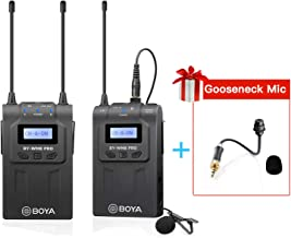 UHF Wireless Lavalier Microphone for Camera Camcorder, BOYA Lapel Mic System with LCD Screen for DSLR Camera Camcorder YouTube Street Interview Livesteam Teamwork Vblog (with Gooseneck Mic UM2)