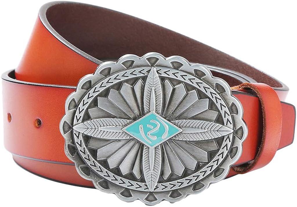 dailymall Vintage PU Leather Celtic Belt Smooth Slide Buckle Hip Hop Jeans Waist Belt