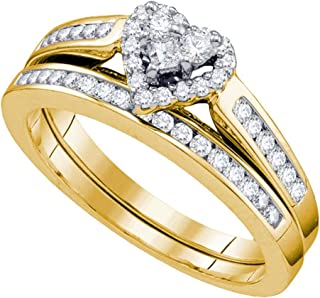 10K White Gold Diamond Ladies Bridal Engagement Ring with Matching Wedding Band Two 2 Ring Set - Halo Heart Shape Center Setting w/Channel Set Princess Cut & Round Diamonds - (.55 cttw)
