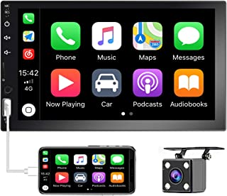 Hikity Bluetooth Double Din Car Stereo 7Inch Touchscreen Car Play FM Radio with TF USB AUX Port Support Phone Mirror Link,... photo