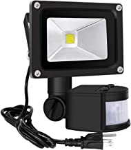 Motion Sensor Flood Lights Outdoor,10W Induction LED Lamp, IP65 Waterproof Spotlight,6500K LED Sensor Light,Security Light with US 3-Plug (Daylight White-Black)