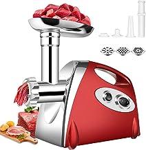 QYHSS Elektrische vleesmolen, worstvulbuizen, roestvrijstalen worstmachine, 800 W, met 3 maalplaten en vulbuizen, voor hui...
