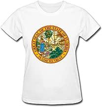 Lsharpe Custom shop Women's Tees Circle Flag of USA Florida State White