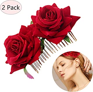 BicycleStore Rose Flower Hair Clip, 2 Pack Hair Side Combs Handmade Floral Comb Flamenco Dancer Pin Flower Wedding Hairpiece Clips Pieces Headwear Jewelry Accessories for Girls Women Bride