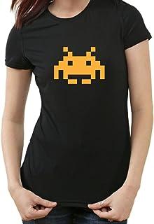 Space Invaders Retro T-Shirt, Atari, C64,eighties,nerd, black womens, M