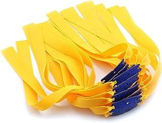 DZS Elec 12pcs Folding Yellow Flat Elastic Band 0.75mm Thickness Flat Rubber Bands for Slingshot Catapult