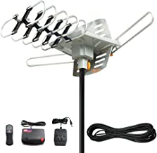 Vansky Outdoor TV Antenna 150 Mile Range Digital Amplified HDTV Antenna 360 Degree Rotation for 2 TVs Support - High Gain UHF/VHF Channels Wireless Remote Control - 32.8' RG6 Coax Cable