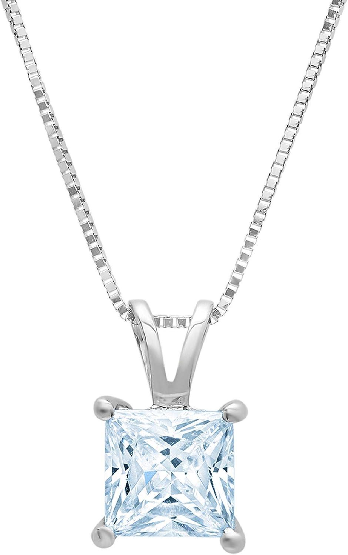 2.05 ct Brilliant Princess Cut Natural Sky blue Topaz VVS1 D Solitaire Pendant Necklace With 16