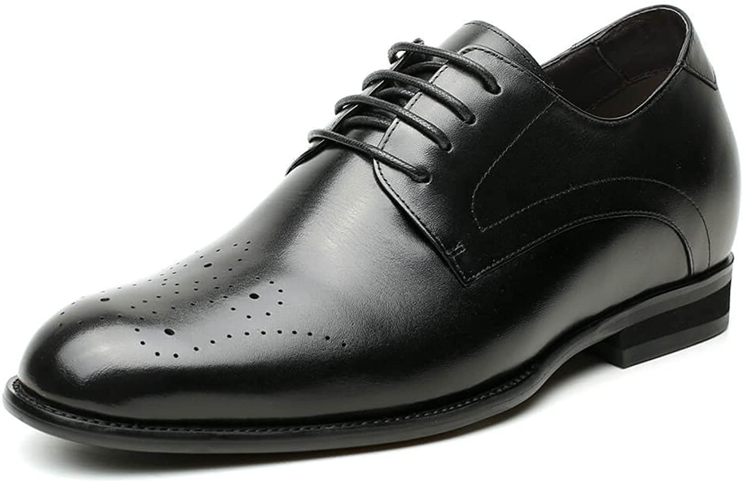 CHAMARIPA Men's Elevator Oxford Dress shoes Cow Leather Taller Men shoes Black Wedding,Party- 2.76 Inches Height Increasing H81D37K025D