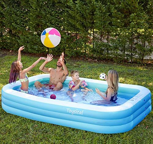 """Toysical Inflatable Pool with Air Pump - 118 x 72 x 22"""" Above Ground Pool, Swimming Pools for Kids and Adults and The Entire Family - More Durable Than Other Blow Up Pools - Includes Patches"""