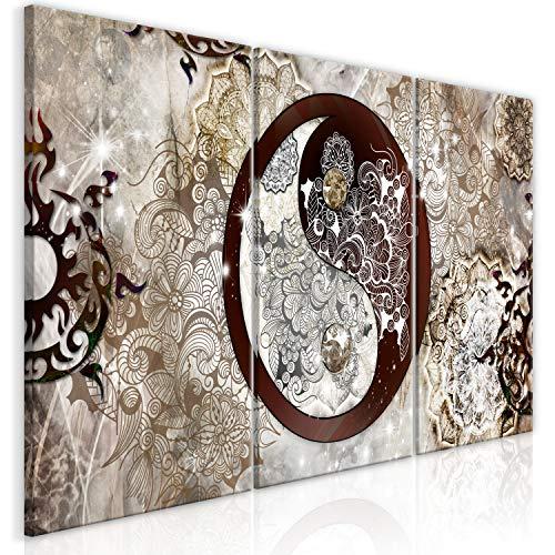 murando Cuadro en Lienzo Mandala 120x60 cm 3 Partes Impresión en Material Tejido no Tejido Impresión Artística Imagen Gráfica Decoracion de Pared - Abstracto Oriental p-A-0036-b-e