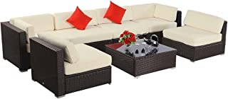 7pcs Polar Aurora Furniture Sectional PE Wicker Rattan Sofa Set Deck Couch(Brown)