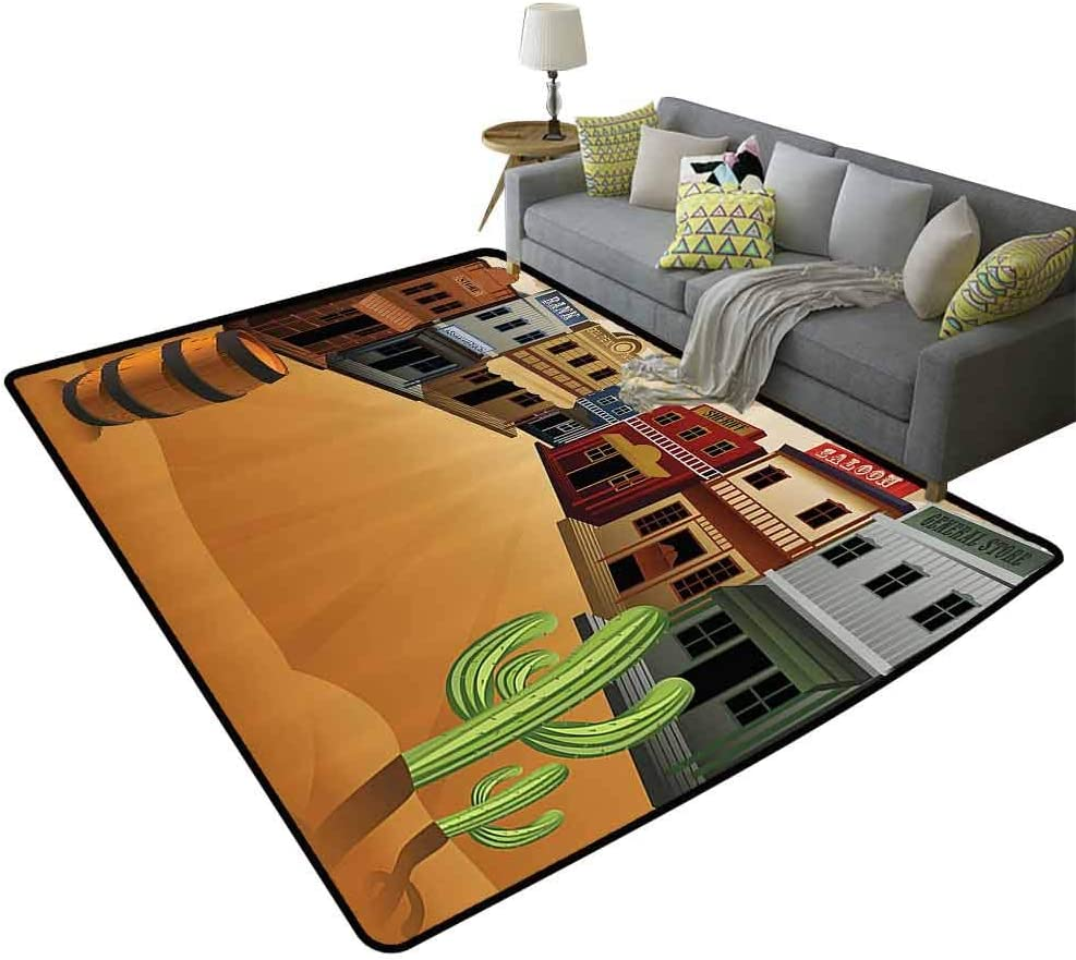 Saloon Limited time cheap sale Decor Collection Durable Store Rug of Cartoon Old Illustration