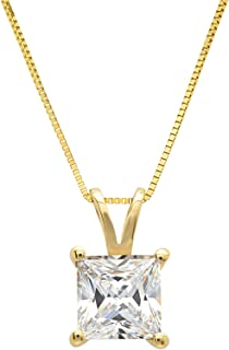 """Clara Pucci 0.9 CT Princess Cut Solid 14K Yellow Gold Solitaire Pendant Box Necklace 16"""" Chain"""