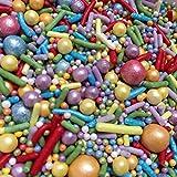 Baking Time Club Rainbows para días Mezclar espolvoreadas de Pastel Natural Adecuado para Veganos Gluten lácteos Mezclados Arco Iris Perlas Strands Jimmies Cupcakes (120g/4.2oz)