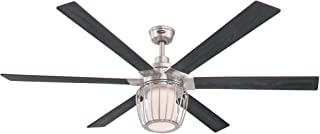 Westinghouse Lighting 7225000 WILLA Ceiling Fan with Light and Remote Control, 60 Inch, Brushed Nickel