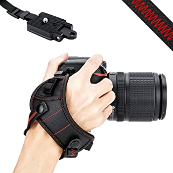 JJC DSLR Camera Wrist Hand Strap Grip w/Arca Swiss Type Quick Release Plate for Canon 7D 7DM2 6DM2 5DM4 5DM3 5Ds R 80D 77D 70D 60D T7i T6s T6i Nikon D850 D810 D750 D610 D7500 D5600 D5500 D3500 - Red
