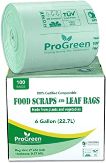 ProGreen 100% Compostable Bags 6 Gallon, Extra Thick 0.87 Mil, 100 Count, Small Kitchen Compost Trash Bags, Food Scraps Ya...