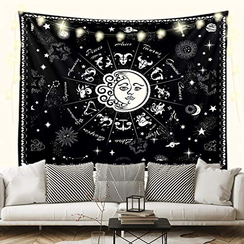 """Sevendec 12 Constellation Black Tapestry Sun and Moon Universe Wall Tapestry Boho Wall Decor for Bedroom Livingroom Home W78""""x L59"""""""