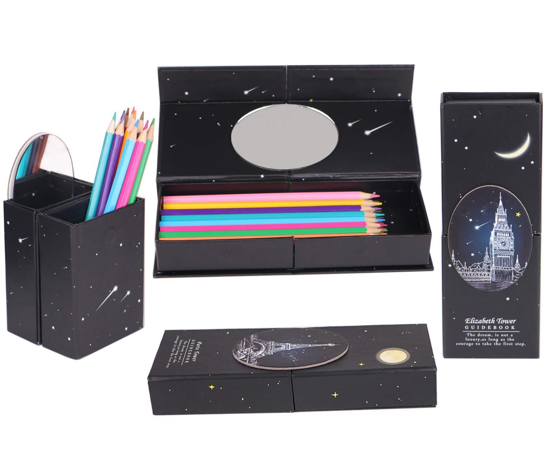 Paquete de 4 estuches mágicos para lápices, 2 en 1, convertibles, de pie, con cierre magnético, estuche para pluma estilográfica, lápices de dibujo: Amazon.es: Oficina y papelería