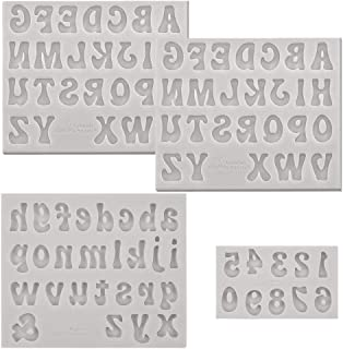 PRAMOO 4 Pieces Letters Molds and Numbers Molds, Silicone Alphabet Fondant Molds for Chocolate Covered Strawberries, Break...