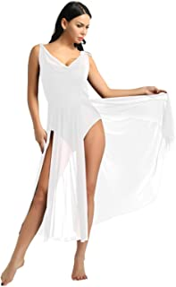Lyrical Women Adult Dance Dress Leotard Mesh Neck Dancewear Flowy Long Slit Skirt