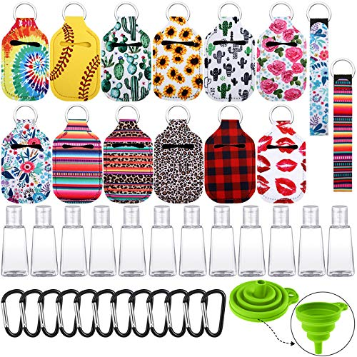 Set de Botella de Llavero de Viaje de 39 Piezas Incluye 12 Fundas de Llavero de Botella, 12 Botellas Rellenables de Tapa Abatible de 30 ml, 12 Gancho Clip de Llavero, 2 Cordón de Pulsera y Embudo