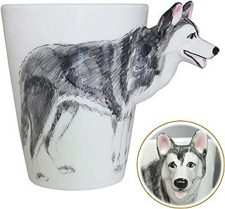 WEY&FLY 3D Coffee Dog Mug, Animals Personalized Tea Cup, Creative Hand Painted 3D Dog Mug, Gift for Lovers Kids Friends (Siberian Husky)