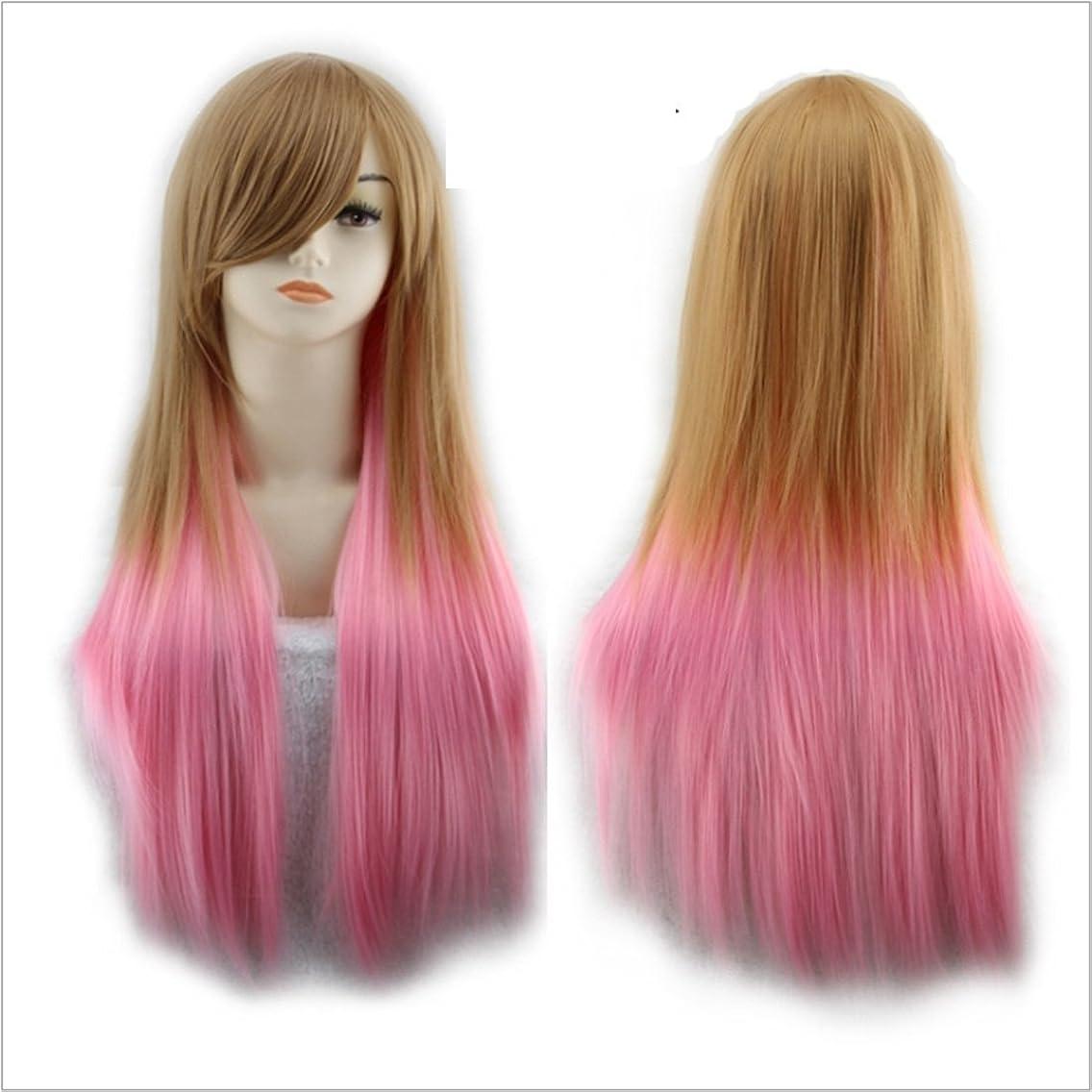 あからさま薄いです頑張るJIANFU 女性 65cm 混合天然色 かつら コサイン&パーティ 斜めバンズ ウィッグ 長いストレート 耐熱 ウィッグ (Color : Brown+pink)