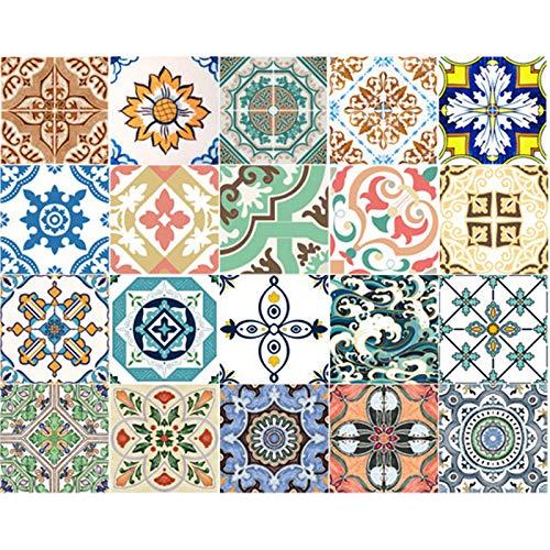 CDIYTOOL Pegatinas autoadhesivas para azulejos de pared, 60 unidades, diseño marroquí, retro, autoadhesivas, de colores, impermeables, para cocina, baño