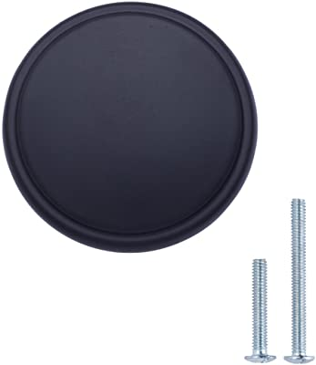 AmazonBasics Modern Wide Top Ring Cabinet Knob, 1.52-inch Diameter, Flat Black, 10-Pack