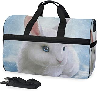 Duffle Bag Hipster Bunny Rabbit Easter Gym Bag with Shoe Compartment Sport Bag for Men Women