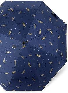 JOYS CLOTHING 傘ホットスタンプフェザー手動折りたたみ傘黒プラスチック日焼け止め抗UV傘 (Color : Manual blue feather)
