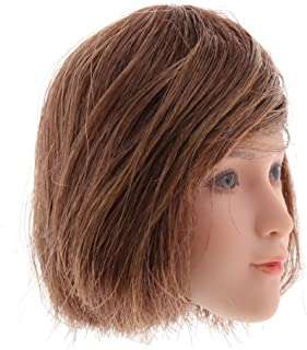 Baoblaze 1:6 Head Sculpt Female, 12 Inch Action Figures Head with Expression and Hair for American European Female Action Figure Body, Brown