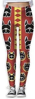 XMKWI Bulldog Face Women Power Flex Gym Yoga Pants Workout Tights Leggings Trouser